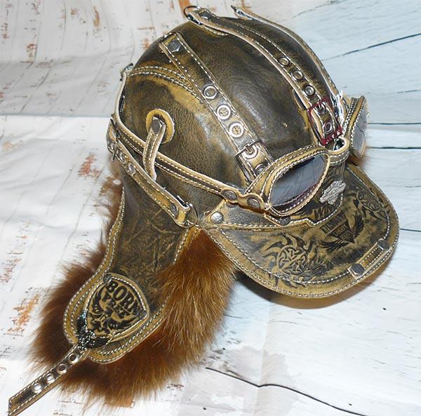 Шапка-ушанка с очками из меха чернобурки  коллекция зима