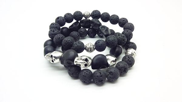 Тройной комплект из браслетов с натуральными камнями лава говлит череп резинка подарок парню,мужчине,  девушке Новый год, день рождения, 23 февраля