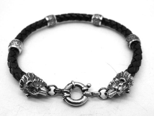 Мужской кожаный браслет серебро толщина 6 мм Медведи-коловрат подарок парню, мужчине, девушке, женщине  новый год, день рождения 23 февраля, 8 марта на каждый день день всех влюбленных