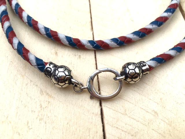 Плетеный кожаный шнур 4 мм триколор-Флаг России Футбол-мяч серебро подарок парню, мужчине,   новый год, день рождения 23 февраля,  на каждый день день всех влюбленных болельщику фанату