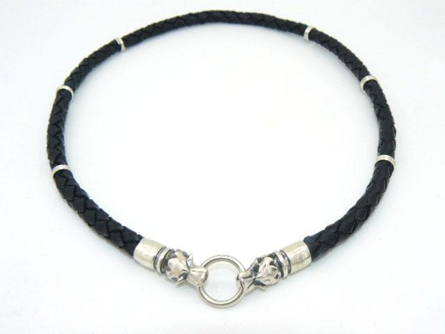 Чокер шнур гайтан кожаный плетеный 6 мм с головами волков серебро 925 подарок парню, мужчине