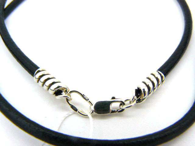 Чокер шнур 3 мм на шею кожа серебро 925 под крест, кулон, подвеску подарок парню, мужчине, женщине, девушке