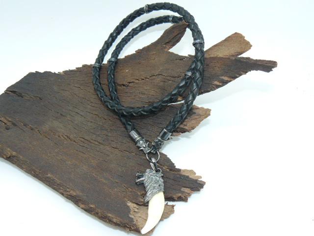 Чокер шнур гайтан кожаный плетеный 6 мм с головами волков с шестью колечками серебро 925 подарок парню, мужчине