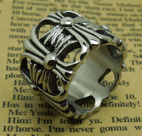 Кольцо Chrome Hearts  Флер де лис сталь, чернение подарок мужчине, парню