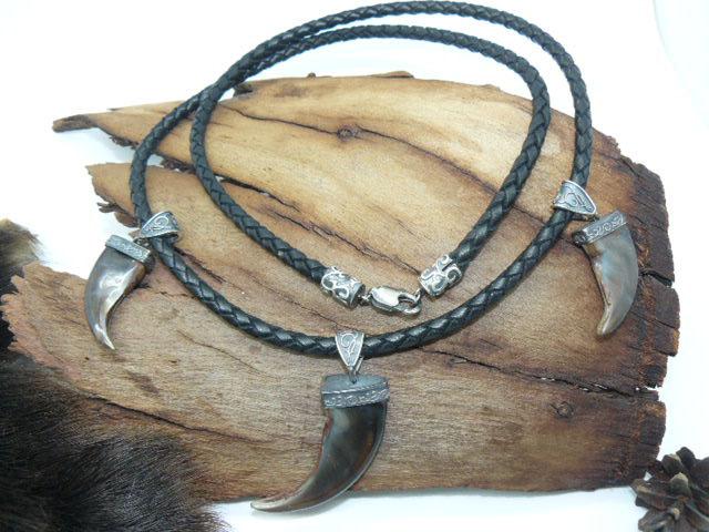 Ожерелье с тремя когтями медведя серебро кожа подарок парню,мужчине,  девушке Новый год, день рождения, 23 февраля