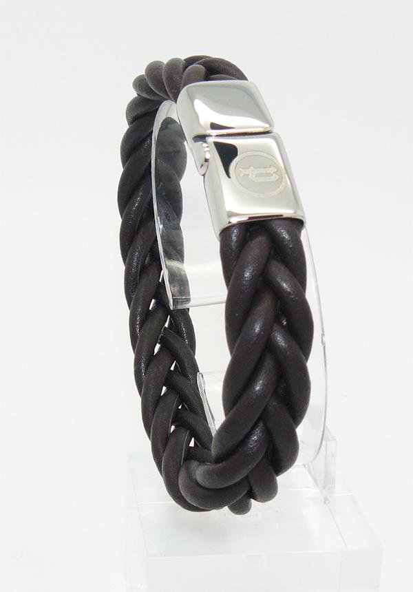 Темно-коричневый плетеный браслет из кожи с логотипом POLICE на магнитной застежке подарок парню мужчине