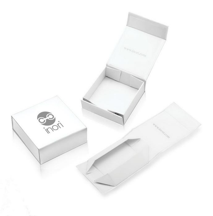 Красивая белоснежная картонная коробочка для мужских украшений Inori  из стали
