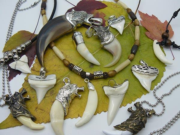 Кулоны амулеты когти зубы акул, медведя, рыси, волка, крокодила серебро 925 ручная работа натуральные