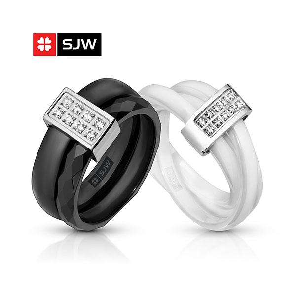 Кольца для женщин из керамики SJW подарок девушке, женщине на 8 марта, день рождения, керамическую свадьбу- 9 лет супружеской жизни, день всех влюбленных