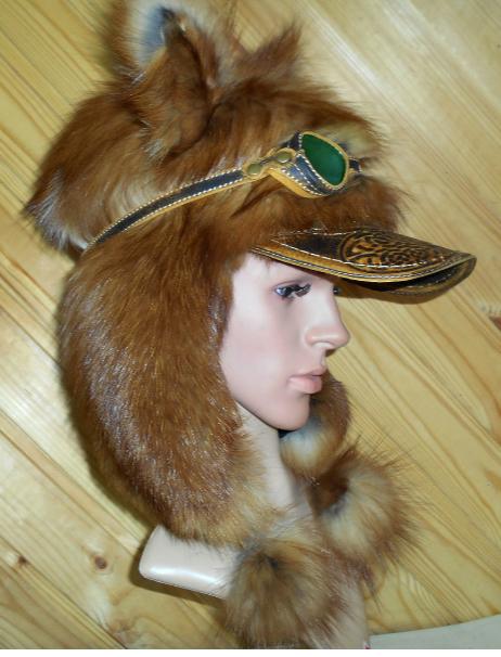 Шапка Пилот с очками с мехом норвежской лисы Огневки  шапка-ушанка для женщины девушке подарок зима