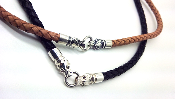 Чокеры из натуральной плетеной кожи волка из серебра 925 пробы  подарок для парней и мужчин