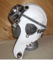 Шапка-ушанка Пилот с очками с мехом овчины BORN WHITE5