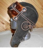 Шапка-ушанка Пилот с очками с мехом овчины GRAY