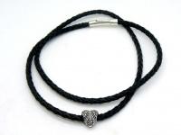 Чокер плетеный кожаный 5 мм серебро бусина сердце