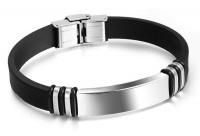 Каучуковый браслет сталь черный BKST-007