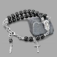 Браслет на руку с крестиком из черного марблита агата Rico La Cara 3210