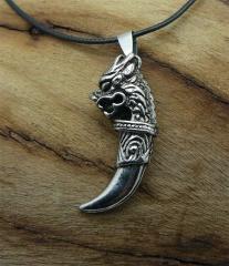 Кулон-амулет клык дракона сталь