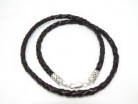 Чокер кожаный плетеный серебро 5 мм