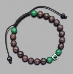 Браслет шамбала с амулетом Назар, из камней коричневый и зеленый агат Rico La Cara 5220