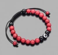 Браслет шамбала с амулетом Назар, из камней красного и черного агата Rico La Cara 5219