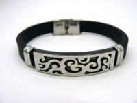 Каучуковый браслет сталь черный BKST-008