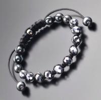 Плетеный браслет шамбала с бусинами рондели стального цвета  Rico La Cara 5165