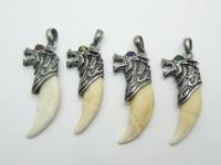 Кулон-амулет-оберег клык волка серебро, золото, рутений с драгоценными камнями
