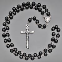 Бусы, ожерелье, розарий (59 бусин)  из черного перламутра с крестом  Rico la Сara 0567