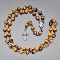 Бусы, ожерелье, розарий (59 бусин)  из тигрового глаза с крестом  Rico la Сara 0745