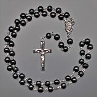 Бусы, ожерелье, розарий из черного агата с крестом  Rico la Сara 0441