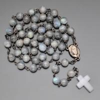 Бусы, ожерелье, розарий из лабрадора с крестом из лунного камня  Rico la Сara 0391