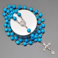 Бусы, ожерелье, розарий из бирюзы с крестом  Rico la Сara 0798
