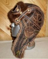 Шапка-ушанка Пилот с очками с мехом овчины и норки BORN