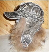 Шапка-ушанка Пилот с очками с мехом песца