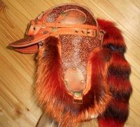 Шапка-ушанка Пилот с очками с мехом чернобурки c хвостом RED