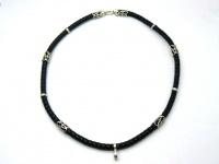 Шнур, чокер, гайтан, ожерелье, колье кожа серебро на шею под крест кулон вид 15