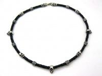 Чокер ожерелье колье с 3 черепами серебро вид 16