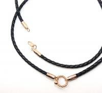 Чокер, шнур плетеный кожаный с золотыми застежками