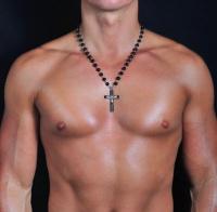 Мужские бусы из черного марблита с крестом Rico La Cara 2160