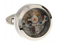 Запонки из ювелирной стали с часовым механизмом CL017S