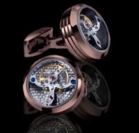 Запонки из ювелирной стали с часовым механизмом CL017BR