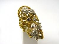Кольцо серебро Цветы овал