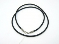 Чокер кожаный серебро 3 мм