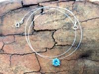 Чокер-леска с голубым фианитом серебро
