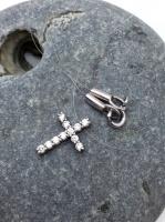 Чокер-леска с крестом и фианитами серебро