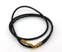 Чокер кожанный плетеный серебро золото 3 мм