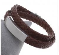 Мужской браслет в два оборота со стальной пластиной под гравировку плетеная кожа KB-155