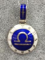 "Кулон знак ""Зодиака"" серебро белая синяя эмаль"