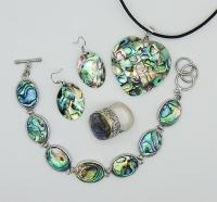 Комплект, набор из кольца и кулона с перламутром