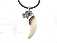 Кулон-амулет-талисман-оберег «Волк» серебро, бронза c позолотой,эмалью